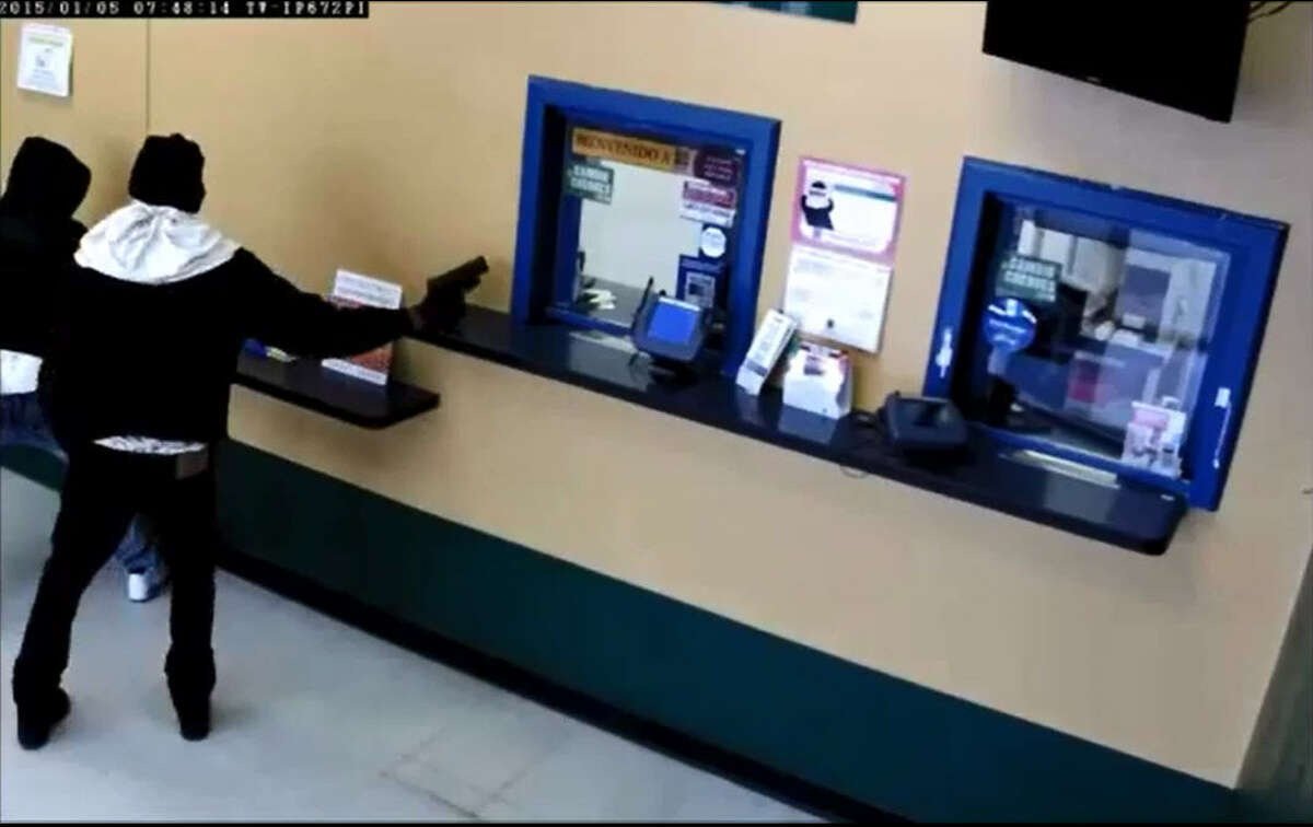 A trio of armed check-cashing store robbers refuses to be discouraged by locked doors, instead going through the ceiling to pass through walls and crashing down into the money rooms below.