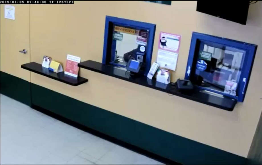 A trio of armed check-cashing store robbers refuses to be discouraged by locked doors, instead going through the ceiling to pass through walls and crashing down into the money rooms below. Photo: Houston Police