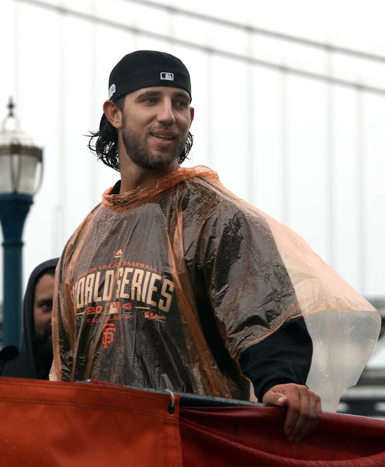 San Francisco Giants Madison Bumgarner on the Embarcadero approaching the start of the parade in San Francisco, Calif., on Friday, October 31, 2014. Photo: Liz Hafalia, The Chronicle
