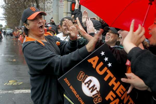 Former Journey singer Steve Perry meets the fans during the Giants' World Series victory parade in San Francisco, Calif. on Friday, Oct. 31, 2014. The Giants captured their third championship in five years after defeating the Kansas City Royals in a seven-game series.