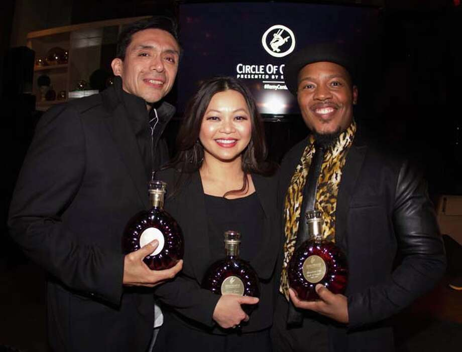 Tony Diaz, Chloe Dao and Harrison Guy receive the Remy Martin Circle Of Centaurs  Photo: Bob Levey, Getty Images / 2015 Getty Images