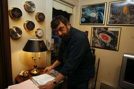 Mike Polansky,  has an array of weather instruments at his home to measure humidity, rain, wind speed, and temperature.