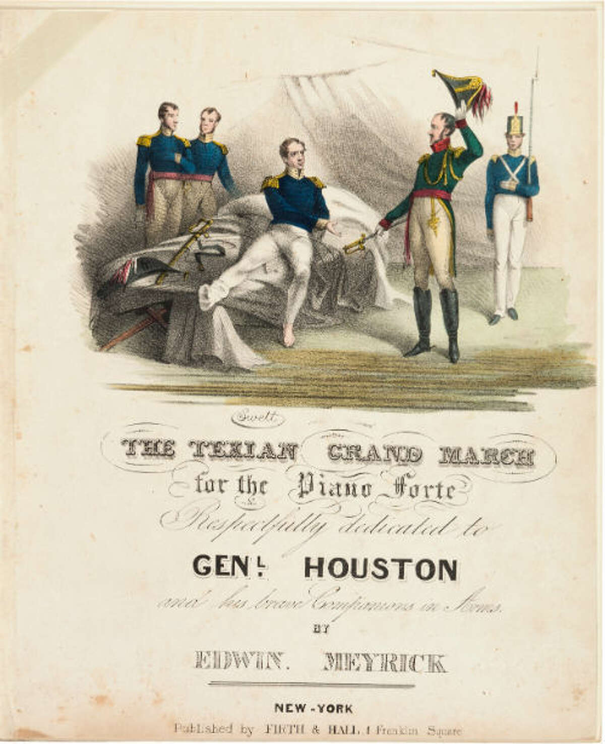 """Edwin Meyrick's """"Texian Grand March' for the Piano Forte"""" Song sheet. The hand-colored engraving on the cover page depicts a wounded Gen. Sam Houston accepting Gen. Santa Anna's sword."""