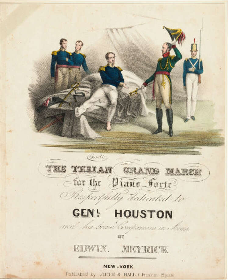 "Edwin Meyrick's ""Texian Grand March' for the Piano Forte"" Song sheet. The hand-colored engraving on the cover page depicts a wounded Gen. Sam Houston accepting Gen. Santa Anna's sword. Photo: Heritage Auctions"