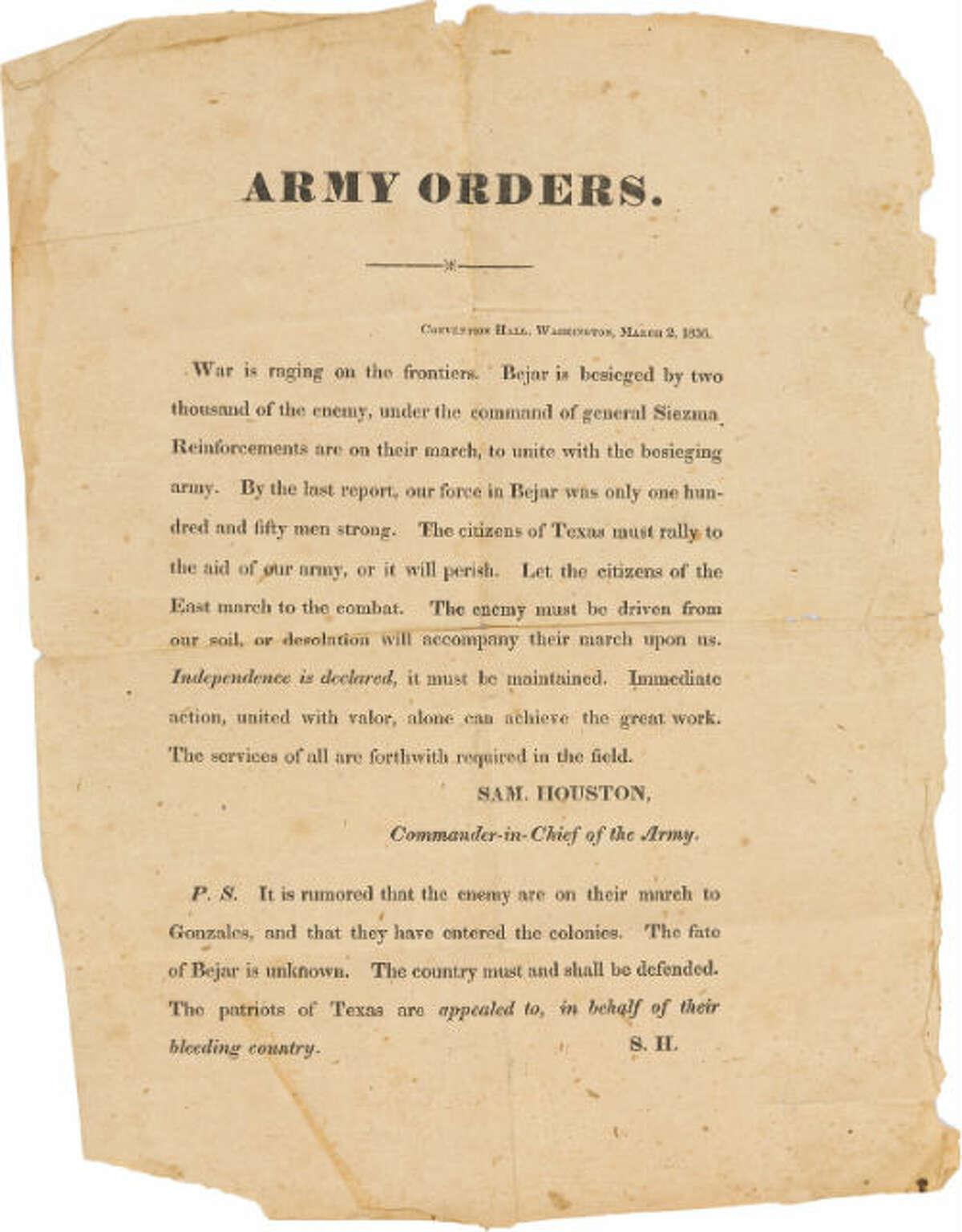 Sam Houston broadside, dated March 2, 1836
