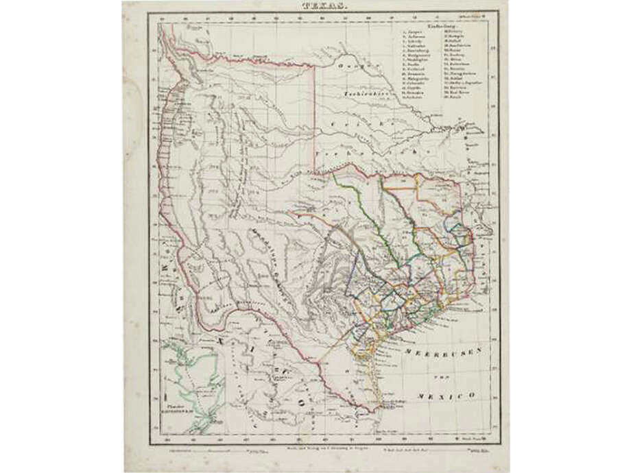 A Carl Flemming map of Texas. Features show towns and the locations of Indian tribes. Photo: Heritage Auctions