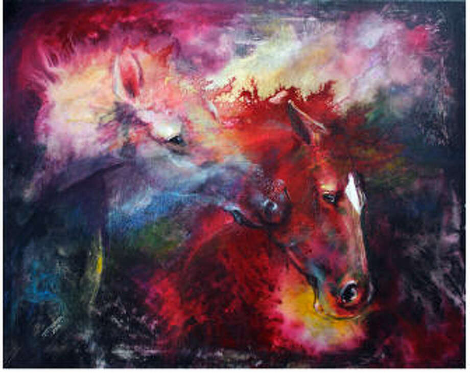 """Students at The Woodlands High School recently selected five new art pieces to permanently hang in the halls of the school. The nonprofit The Woodlands High School Art Trust purchases at least three art pieces by Texas artists each year to permanently display at the school. This year, the art trust raised enough money to purchase five pieces. One of those was """"Fire - Mottled Horses"""" by Iwona Jankowski."""