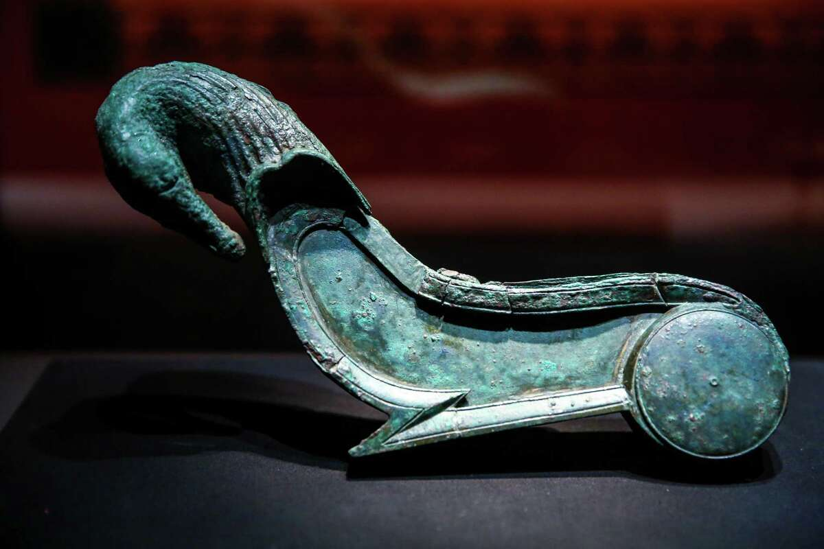 Part of a couch is shown during a press preview of POMPEII: The Exhibition at the Pacific Science Center on Thursday, February 5, 2015. The exhibit brings artifacts from the city that was covered with ash after an eruption of Mount Vesuvius 2,000 years ago.