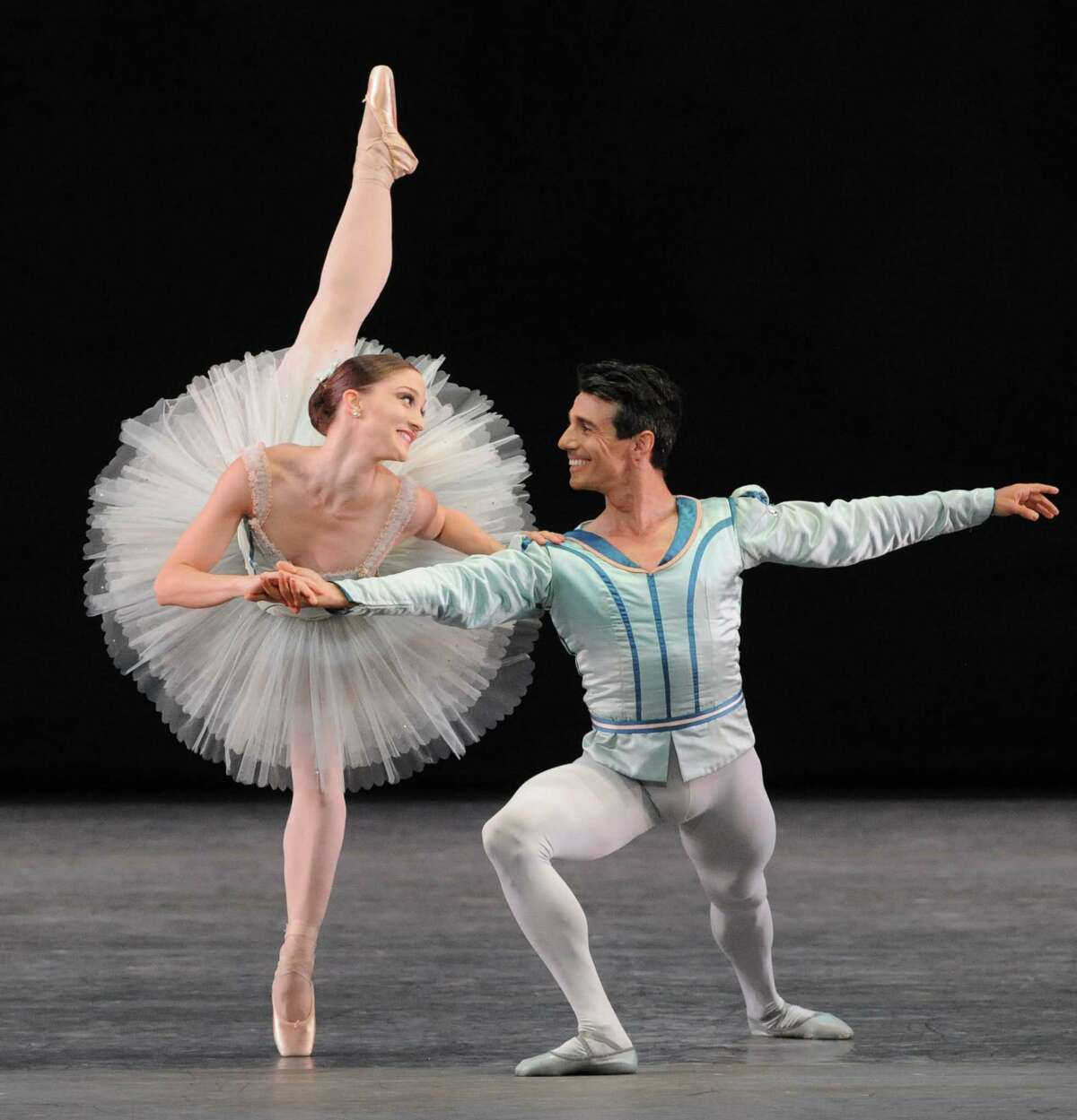 Principal dancers Asley Bouder and Joaquin De Luz dance ,Raymonda Variations, on the opening night of the New York City Ballet at SPAC on Tuesday July 8, 2014 in Saratoga Springs, N.Y. (Michael P. Farrell/Times Union)