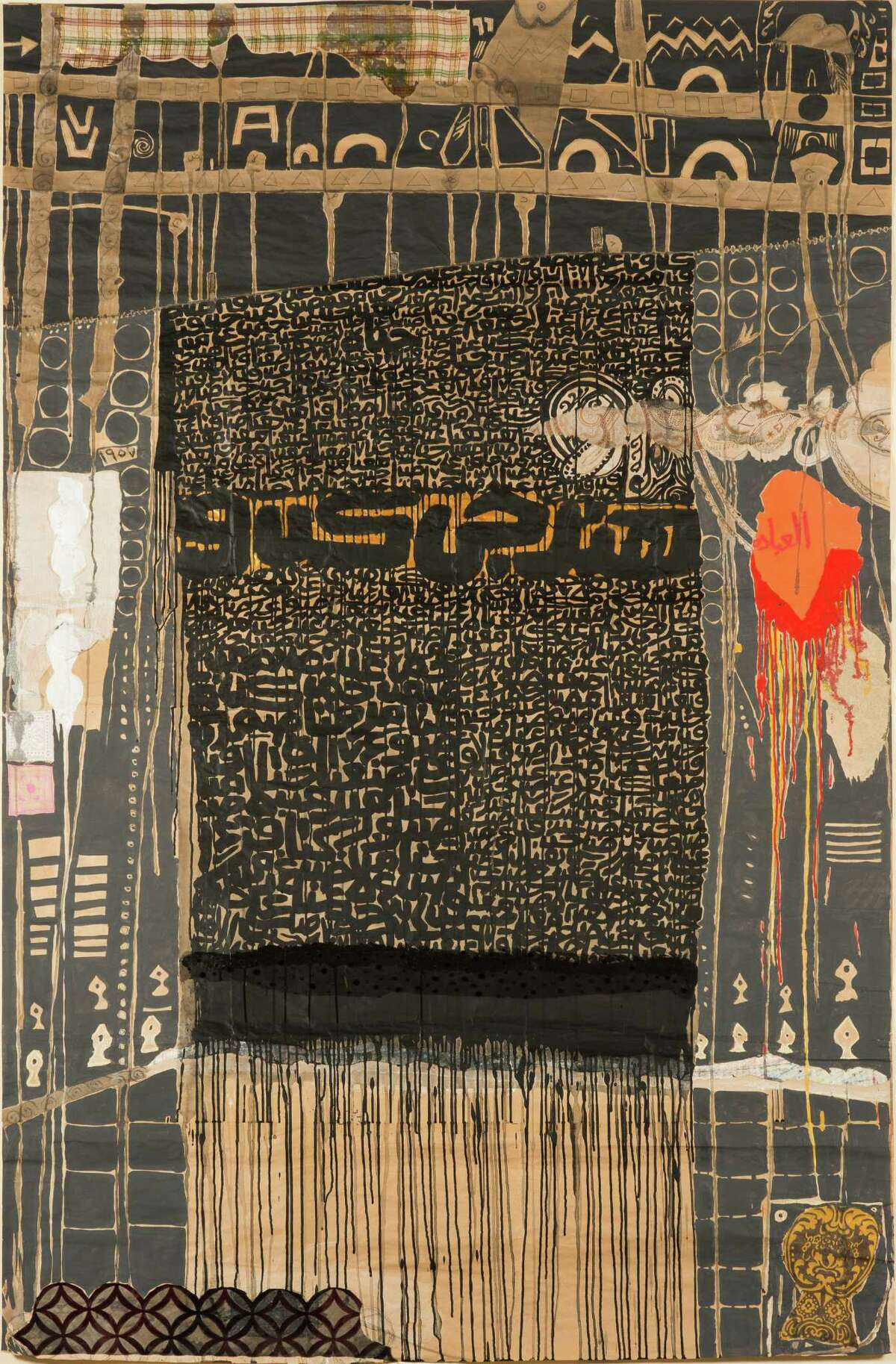 Fathi Hassan, Carpet, 2013, mixed media on paper. c. Fathi Hassan, courtesy of Rose Issa Projects. Photo by Arthur Evans.