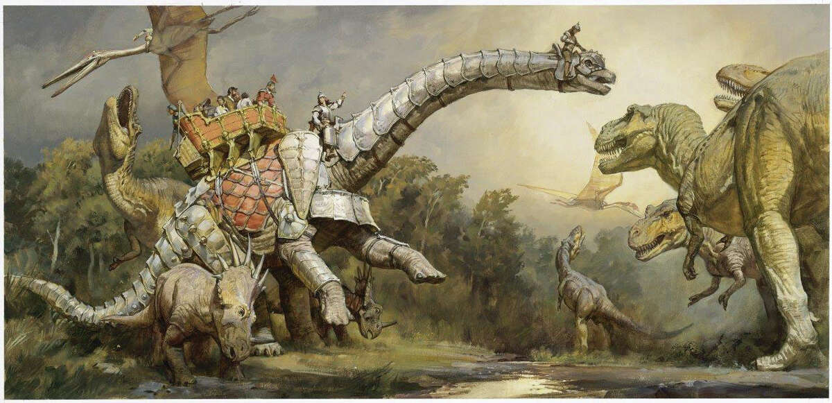 A mythical ancient civilization in which man co-existed with dinosaurs is depicted in