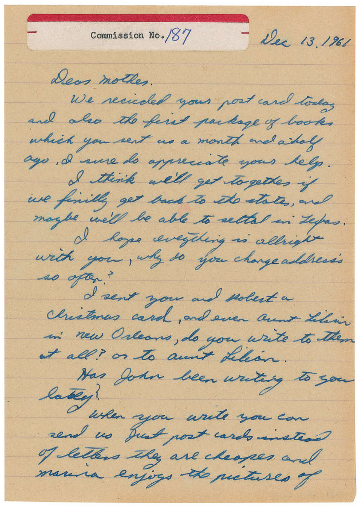 A letter written by JFK assassin Lee Harvey Oswald is being auctioned by RR Auction in Boston.
