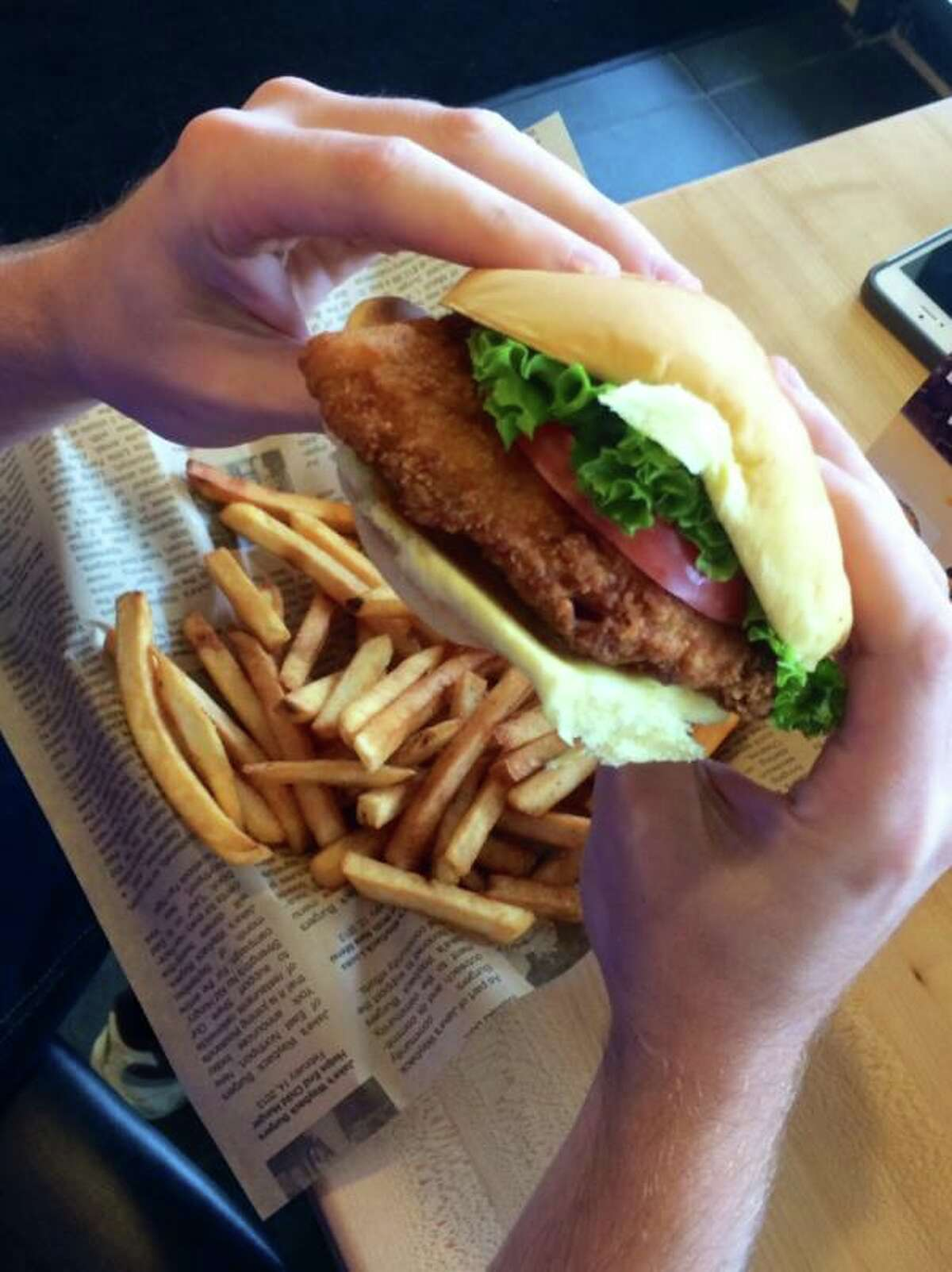 This photo shows a dish from Jake's Wayback Burgers, also known as the fast food restaurant that sells a nine-patty, nine-cheese burger.