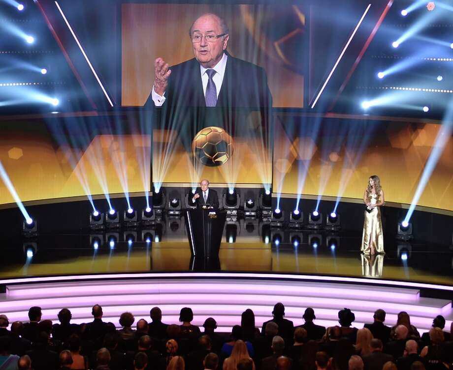 Sepp Blatter, speaking during the FIFA awards ceremony, is running for a fifth term as president. Photo: FABRICE COFFRINI / AFP / Getty Images / AFP