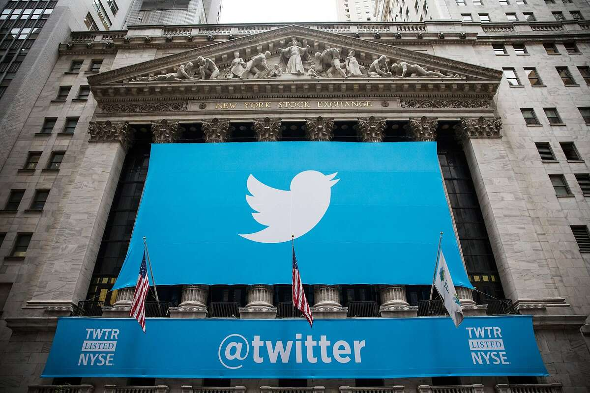 FILE - FEBRUARY 5: Twitter is set to announce its fourth quarter earnings on February 5, after the market close. NEW YORK, NY - NOVEMBER 07: The Twitter logo is displayed on a banner outside the New York Stock Exchange (NYSE) on November 7, 2013 in New York City. Twitter goes public on the NYSE today and is expected to open at USD 26 per share, making the company worth an estimated USD 18 billion. (Photo by Andrew Burton/Getty Images)