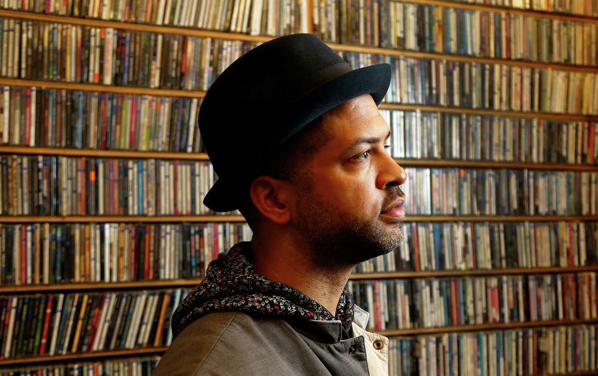 Jason Moran, who grew up in Houston's Third Ward and is one of the preeminent players of jazz, a pianist who played with elder greats like Greg Osby and Charles Lloyd, while also leading his own band, The Bandwagon. Photographed in the KPFT studios, Monday, Feb. 2, 2015, in Houston. ( Karen Warren / Houston Chronicle )