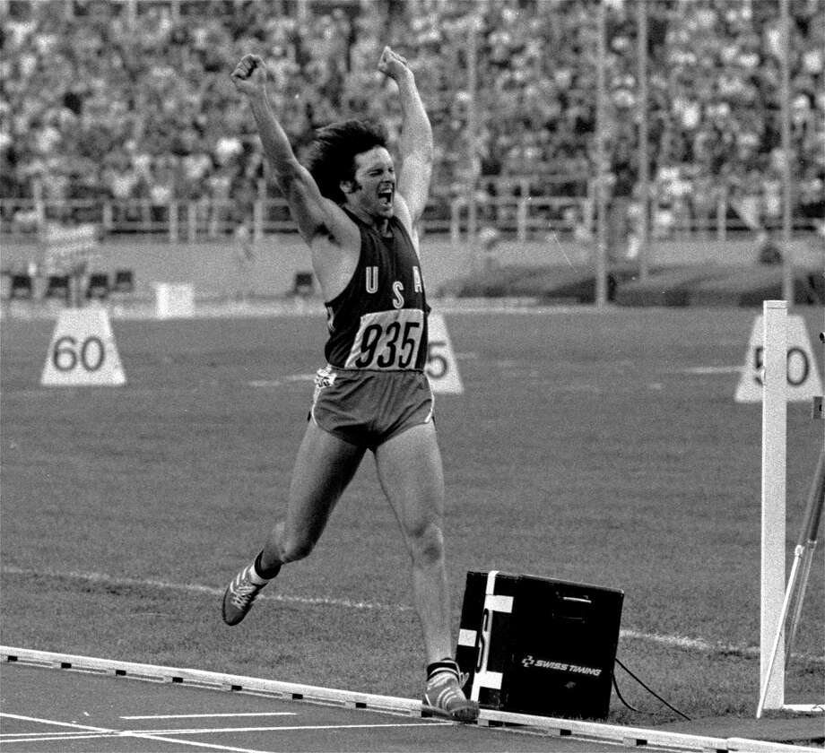"This July 30, 1976, file photo shows Bruce Jenner, once lauded as ""The World's Greatest Athlete,"" reacting after securing gold in the Olympic Decathlon in Montreal. While married to Kris Kardashian, he was family patriarch in ""Keeping Up With the Kardashians"" on E! network. Jenner is now alleged to be considering a gender switch. His appearance has shifted in recent months, leading to bigoted comments from television talk show hosts and cruel front-page photo treatment in at least one tabloid magazine. Photo: Associated Press / 1976 AP"