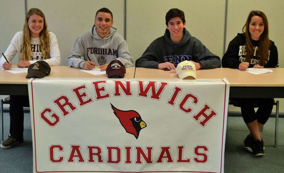 Four Greenwich High athletes celebrated signing their National Letters of Intent Thursday. From left to right: Kylie Ginsberg, Women's Soccer at Lehigh University; Austin Longi, Football at Fordham University; Kyle Mautner, Tennis at University of Pennsylvania; Olivia Lazar, Women's Lacrosse at Bentley University. Photo: Contributed Photo / Greenwich Time Contributed