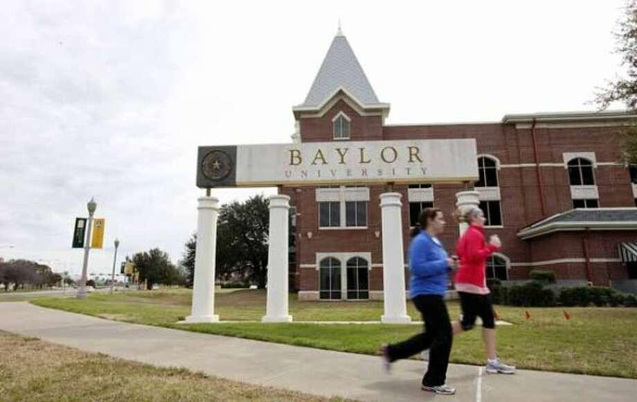 Students jog around the Baylor University campus, 2012.