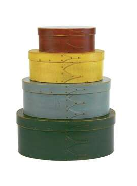 A stack of painted wood boxes made at the Shaker community in Canterbury, N.H., in the mid-19th century are among the works in the collection of Ben and Toby Rose that go on view Saturday, Feb. 14, at the Sonoma Valley Museum of Art.