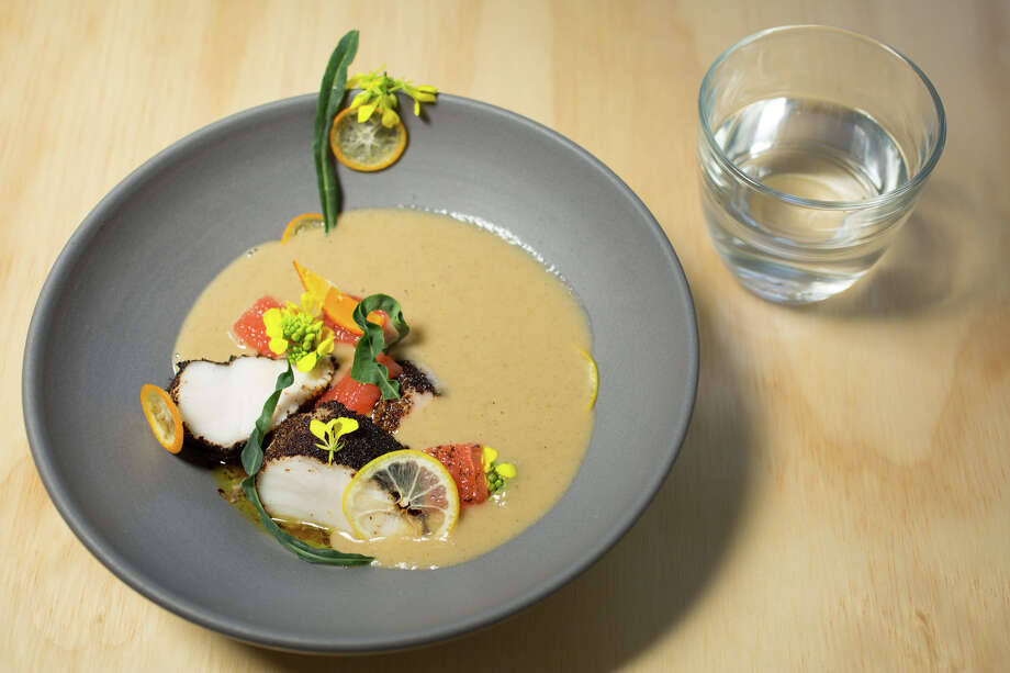 Sunchoke curry with black lime, cod and grapefruit at AL's Place, the new restaurant from former Ubuntu chef Aaron London, which opened in San Francisco in February, 2015. Photo: Molly DeCoudreaux Photography / Molly DeCoudreaux Photography / ONLINE_YES