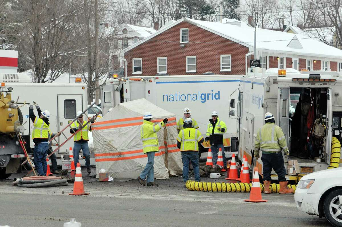 National Grid crews work at the scene of a gas line problem at 125th St. and 2nd Ave. on Wednesday, Feb. 4, 2015, in Troy, N.Y. (Paul Buckowski / Times Union)