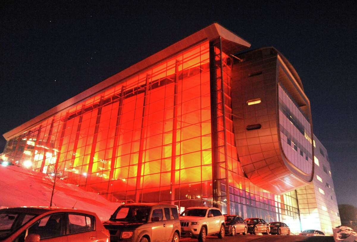 The American Heart Association flipped the switch on EMPAC so it glowed red to raise awareness about heart disease in women on Thursday Feb. 5, 2015 in Troy , N.Y. (Michael P. Farrell/Times Union)