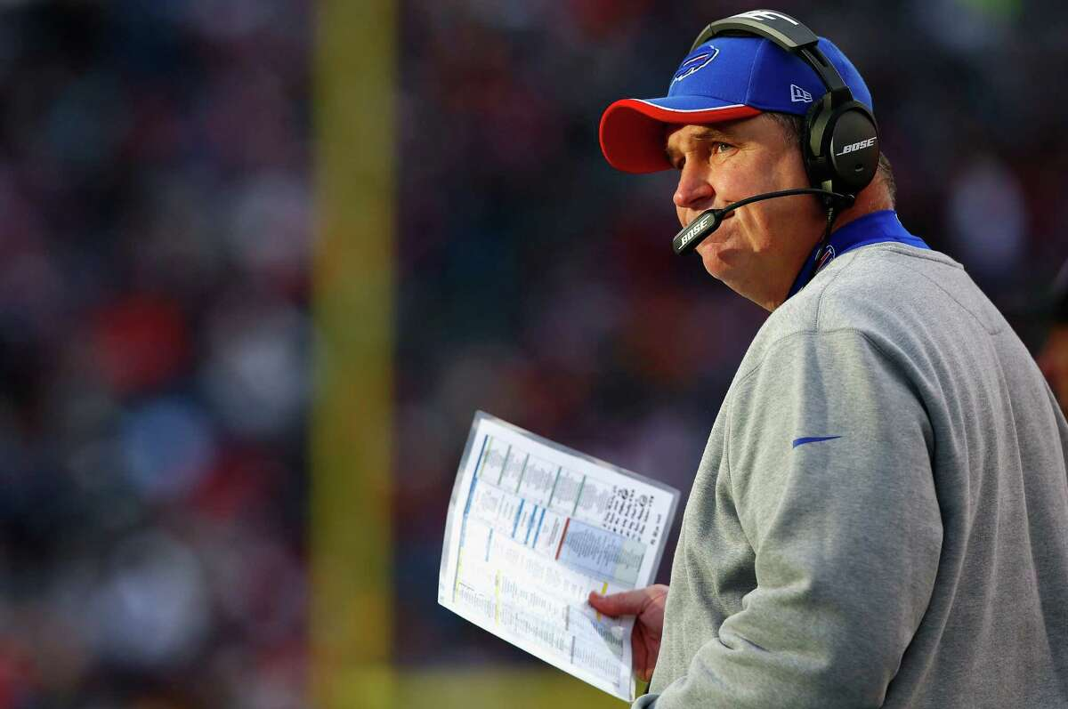 FOXBORO, MA - DECEMBER 28: Head coach Doug Marrone of the Buffalo Bills looks on during the third quarter against the New England Patriots at Gillette Stadium on December 28, 2014 in Foxboro, Massachusetts. (Photo by Jared Wickerham/Getty Images) ORG XMIT: 507867895