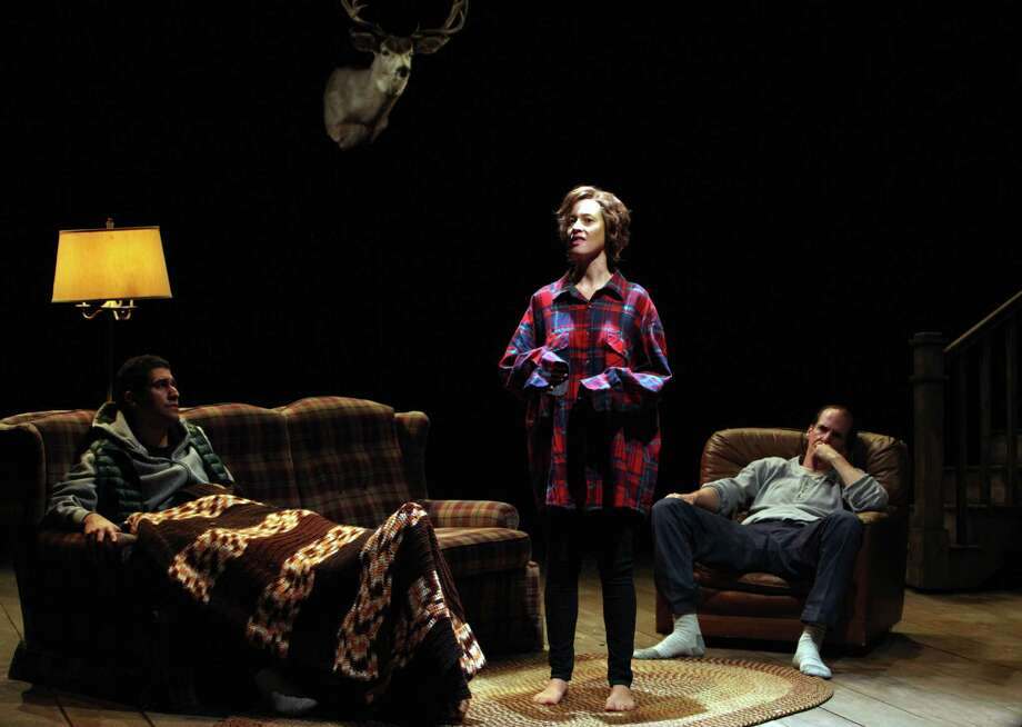"""Beth (Jessi Campbell, center) tries to talk to Frankie (Juan Amador, left) as her father Baylor (Robert Parsons) looks on Sam Shepard's """"A Lie of the Mind"""" at Magic Theatre NOTE: Jose takes accent / over the e Photo: Jennifer Reiley / ONLINE_YES"""