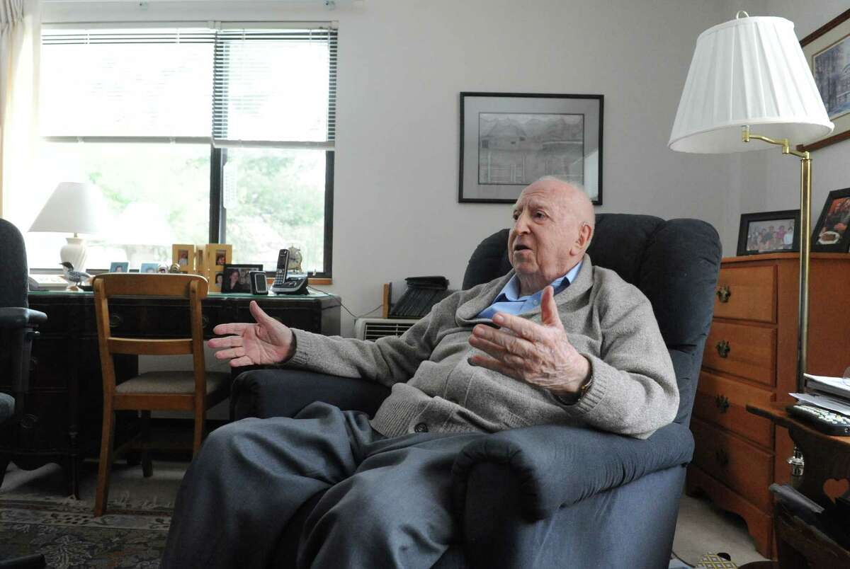 Sherwood Davies, 97, who grew up in the Sony Wold Sanatorium on Lake Kushaqua in the Adirondacks outside Saranac Lake talks of his experiences there on Wednesday Feb. 4, 2015 in Troy, N.Y. (Michael P. Farrell/Times Union)