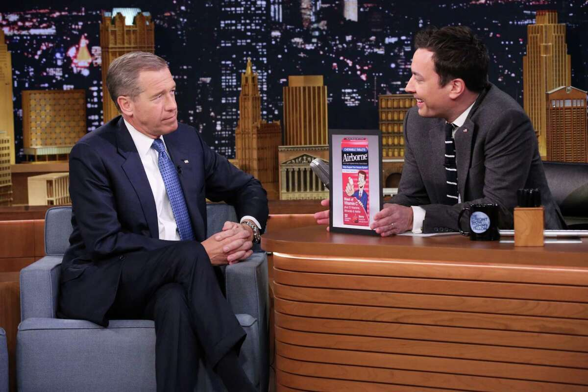 THE TONIGHT SHOW STARRING JIMMY FALLON -- Episode 0196 -- Pictured: (l-r) Journalist Brian Williams during an interview with host Jimmy Fallon on January 16, 2015 -- (Photo by: Douglas Gorenstein/NBC/NBCU Photo Bank via Getty Images)