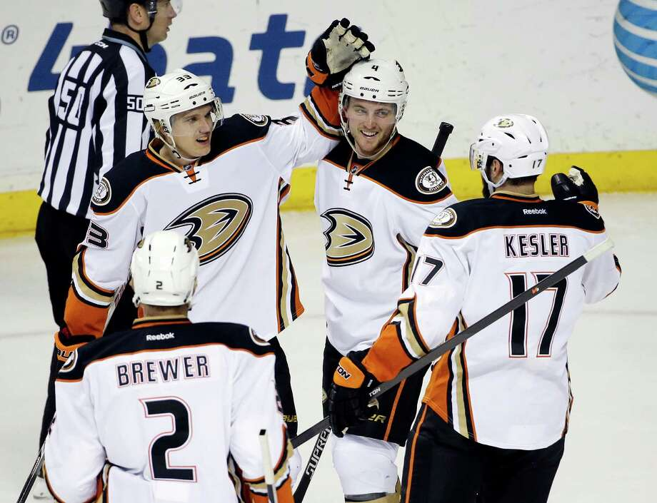 Anaheim Ducks right wing Jakob Silfverberg (33), of Sweden, is congratulated after scoring his second goal of the game against the Nashville Predators in the second period in Nashville, Tenn. Photo: Mark Humphrey / Associated Press / AP