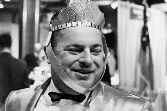 From the Oct. 6, 1963, Houston Post: Ain't he purty? Sir-Loin House owner Sonny Look, all decked out with a cardboard knight's visor, at the Houston Restaurant Association's Epicurean Evening.