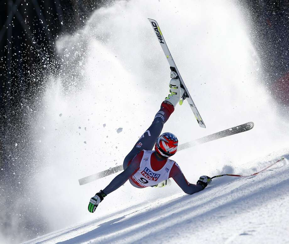 In this photo provided by Pentaphoto, United States' Bode Miller crashes during the men's super-G competition at the alpine skiing world championships, Thursday, Feb. 5, 2015, in Beaver Creek, Colo. Miller did not finish the race. Photo: Shinichiro Tanaka, Associated Press