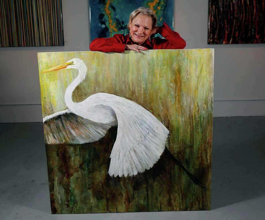 Local artist Salli Babbit has been painting and teaching art classes for years in Houston. She says her favorite class to teach is mixed media. Photo: James Nielsen, Staff / © 2015  Houston Chronicle