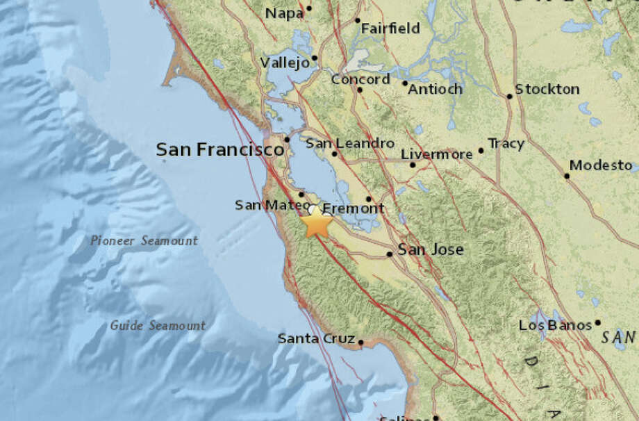 A magnitude 3.1 earthquake was reported at 3:44 a.m. about 2 miles south-southwest of Redwood City. Photo: USGS