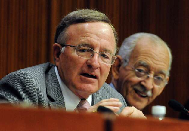 State Senators John D. DeFrancisco, left, and Herman A. Farrell take part in housing budget hearings at the Legislative Office Building on Thursday Feb. 5, 2015 in Albany , N.Y.  (Michael P. Farrell/Times Union) Photo: Michael P. Farrell, Albany Times Union / 10030489A