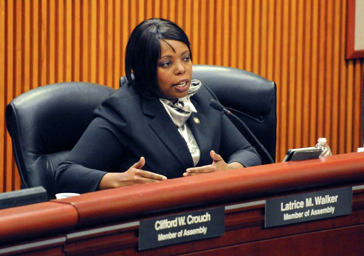State Assembly member Latrice M. Walker takes part in housing budget hearings at the Legislative Office Building on Thursday Feb. 5, 2015 in Albany , N.Y. (Michael P. Farrell/Times Union)