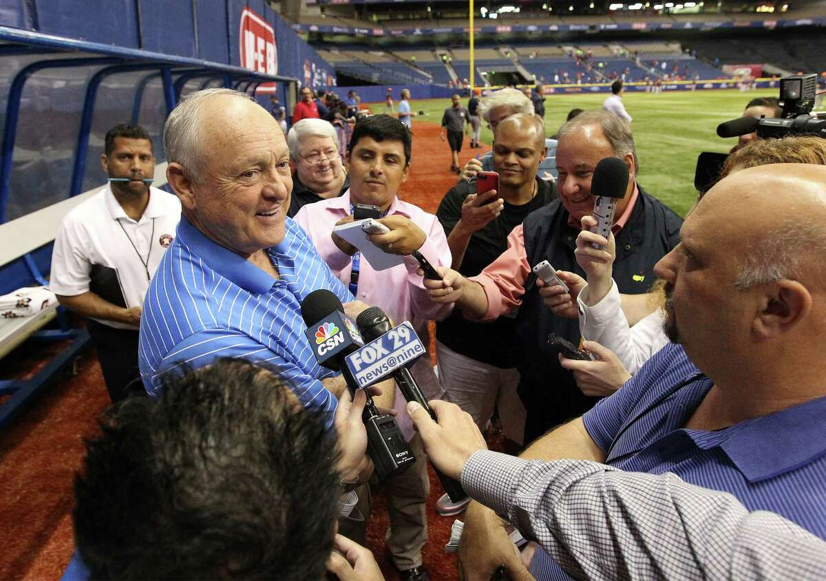 Houston Astros executive advisor and baseball Hall of Famer Nolan Ryan meets with the media before one of the H-E-B Big League Weekend exhibition game at the Alamodome in March of 2014.