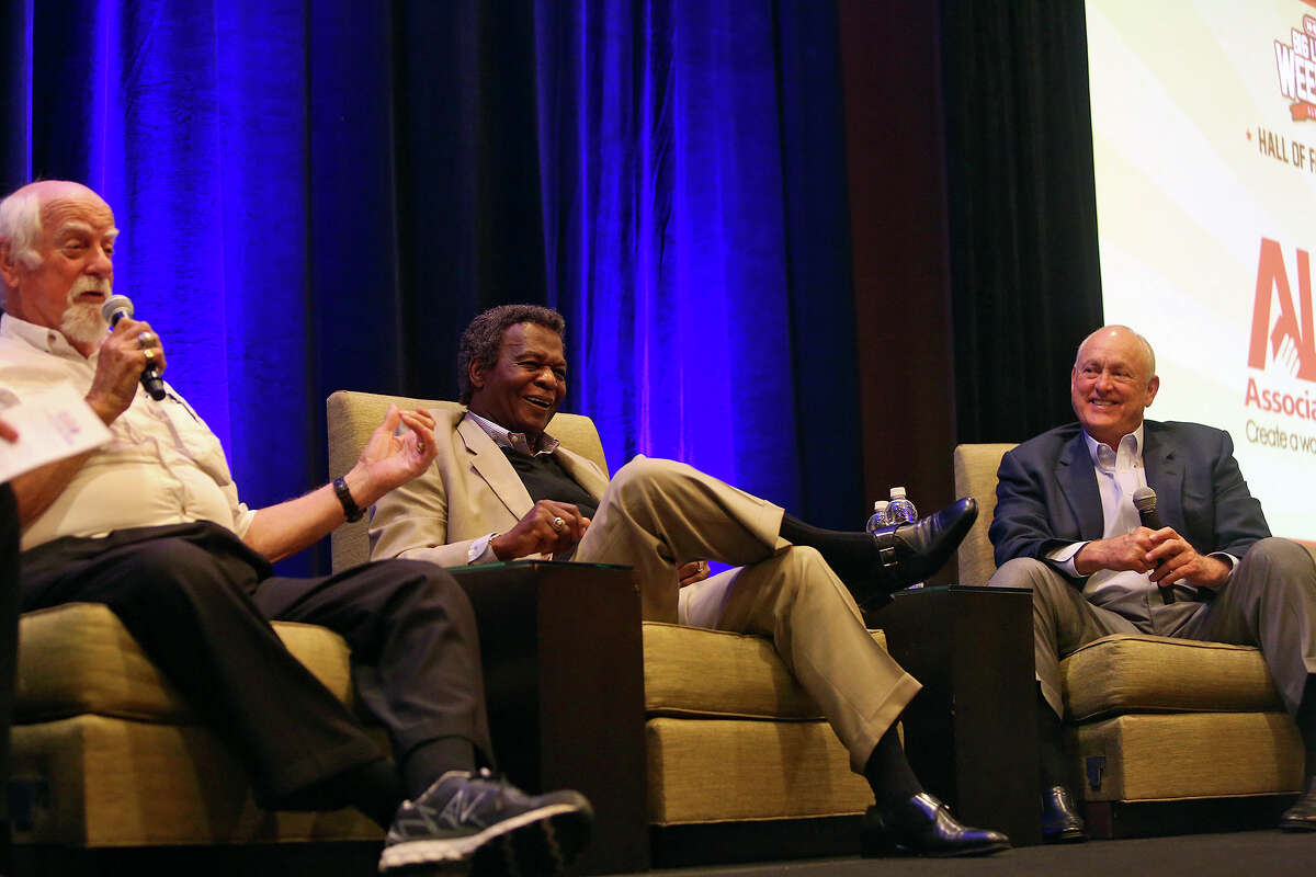 Baseball Hall of Fame members Gaylord Perry (from left), Lou Brock and Nolan Ryan tell stories during the H-E-B Big League Weekend Hall of Fame luncheon at the Hyatt Regency Riverwalk on March 27, 2014.