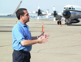 NOAA research meteorologist Allen White provides a briefing on the joint mission to study the atmospheric river this week at McClellan Airport near Sacramento.