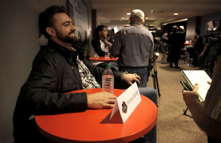 Jeremy Affeldt hangs out during an interview at AT&T Park on Feb. 6. Photo: Michael Macor, The Chronicle
