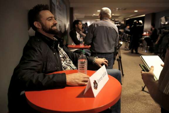 Pitcher Jeremy Affeldt during an interview as the San Francisco Giants'  hold a media availability at AT&T Park in San Francisco, Ca. on Friday Feb. 6, 2015.