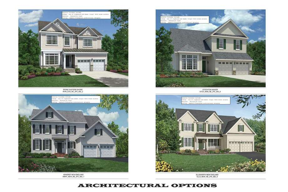 Possible house styles that will be available in a new housing developement proposed for Maple Avenue in Bethel, Conn.  A public hearing on plan to develop the 24.6 acres was closed last week after the developer agreed to several changes suggested by P&Z. Photo: Contributed Photo / The News-Times Contributed