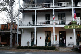 Built in 1862, the historic St. George Hotel in Volcano offers lodging, a dark-wood restaurant and a saloon.
