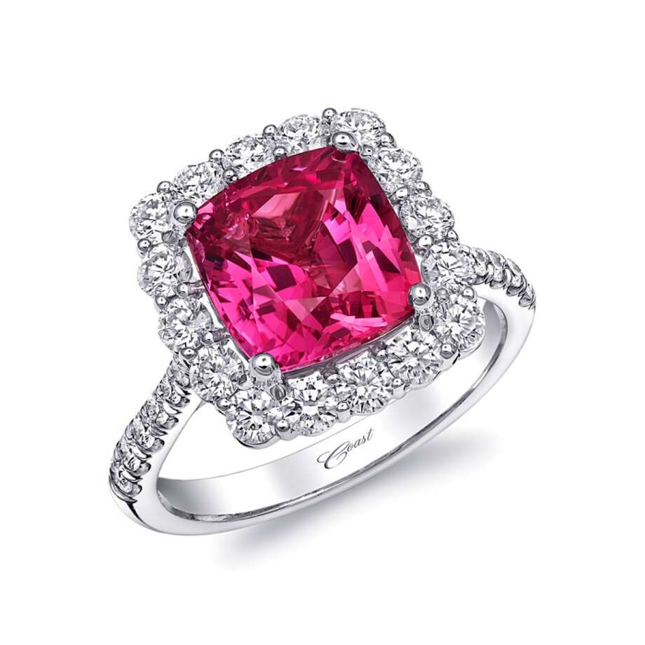 PUT A RING ON IT: This platinum ring features a 4.41 carat cushion cut pink sapphire surrounded by diamonds. Price upon request. Houston Jewelry & Fine Gifts. Photo: Houston Jewelry And Fine Gifts / ONLINE_YES