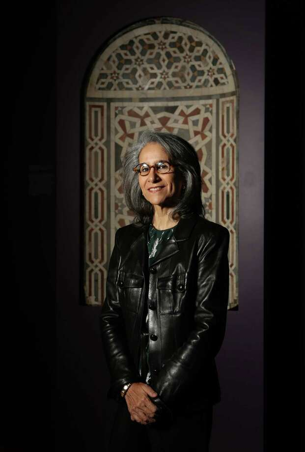 Sheikha Hussah Sabah al-Salem al-Sabah, co-owner of the al-Sabah Collection, with a 15th-century Egyptian marble mosaic niche at the Museum of Fine Arts, Houston. Photo: Mayra Beltran, Staff / © 2015 Houston Chronicle
