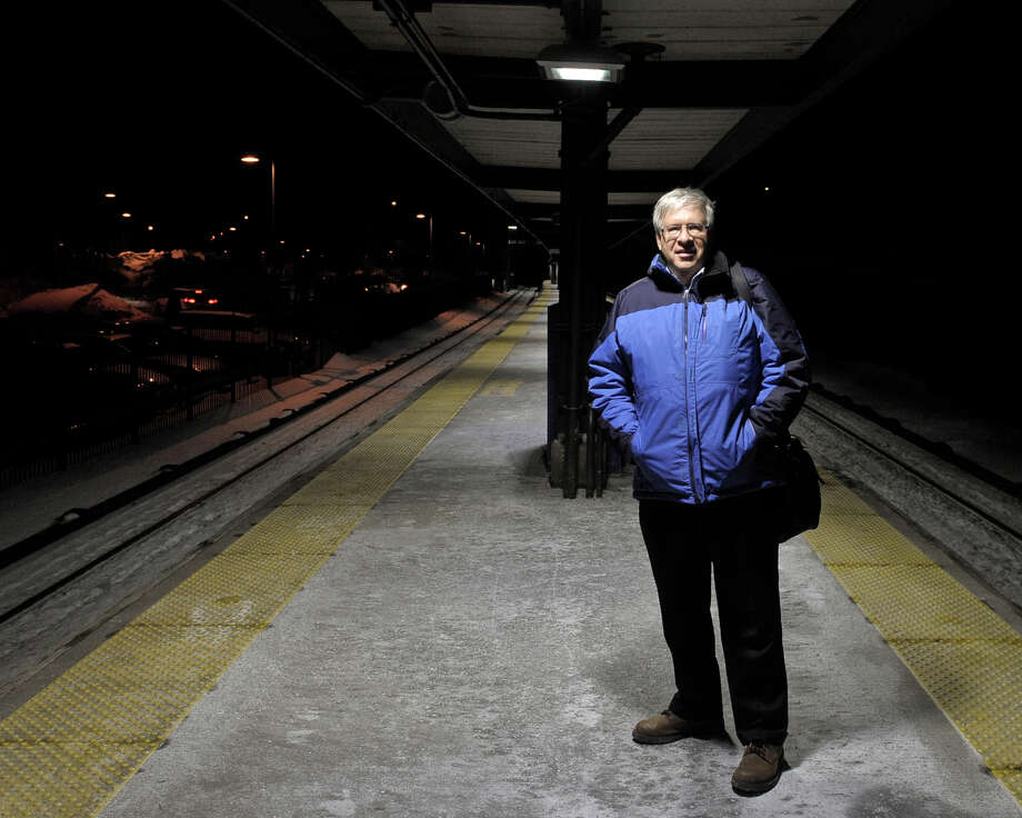 Bob Schwartz, of Ridgefield, stands on the patform after geting off the 5:29 from New York City at Golden's Bridge, New York, Metro North train station on Thursday night, February 5, 2015. Schwartz normally is on the train that crashed in Valhalla, on Tuesday, but had stayed home from work that day and was not on the train. Photo: H John Voorhees III / The News-Times