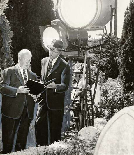 """Legends Alfred Hitchcock and Jimmy Stewart at Mission Dolores during the filming of """"Vertigo"""" in 1958. Photo: 1958 / Chronicle Archive / CHRONICLE"""