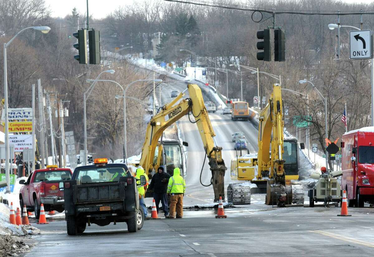 A water main break at Aiken Avenue caused Routes 9 & 20 in both directions to be closed on Friday Feb. 6, 2015 in Rensselaer, N.Y. (Michael P. Farrell/Times Union)